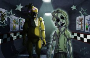 FNAF - Chica and her ghost by LadyFiszi
