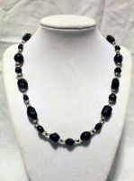 Black n' Silver Glass Necklace - FOR SALE by Thy-Darkest-Hour