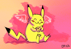 Pikachu With a Cookie by Gerucko