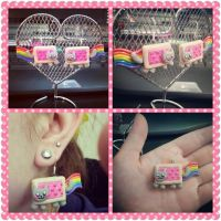 New and Improved Nyan Cat Earrings by LimitlessDreamer