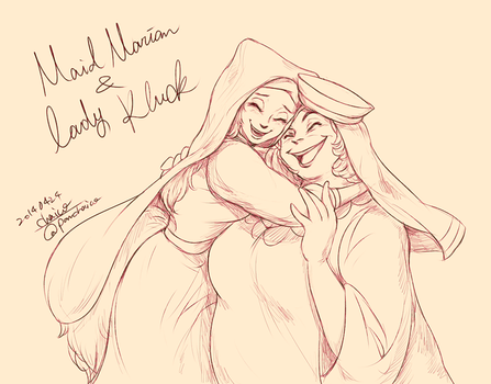 Maid Marian and Lady kluck by chacckco
