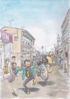 Lupin3rd-run-through-the-street by NORIMATSUKeiichi