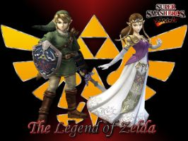Link and Zelda Brawl Wallpaper by Gosicrystal