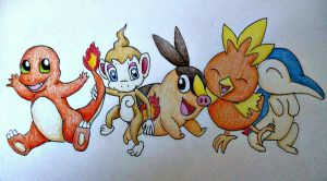 Pokemon Fire Starters by SarahStar123