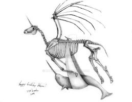 Skeletal Unicorn and Narwhal by batbrooke