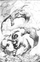 winged terror frazetta study by dynapop