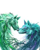 Two Wolves by Lucky978