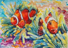 Clownfish In Their Paradise by BarbaraPommerenke