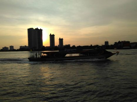 sunset siluet from riverside of Bangkok by GREENMiracle89