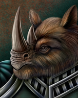 Wooly Rhino Warrior by DragonosX