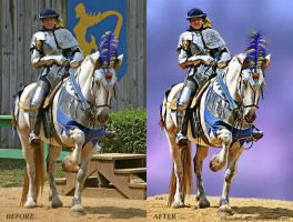 Renaissance Rider Before And After by Pixel2Portrait