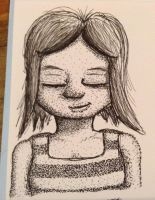 Restful Girl - Pointillism experiment by mifortin