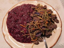 Cranberry Sauce Rice and Ginger-Lavender Bison by Windthin