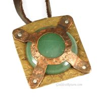 Copper, Brass and Green Aventurine Pendant by sylva