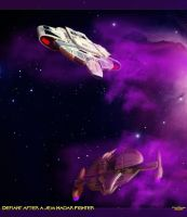 Defiant Hunting a Jem Hadar Fighter by MotoTsume