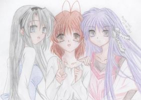 Clannad - Tomoyo Nagisa Kyou drawing by Beyzaaa
