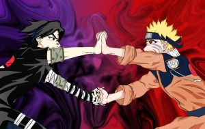 Naruto vs. Sasuke by MiraiDan
