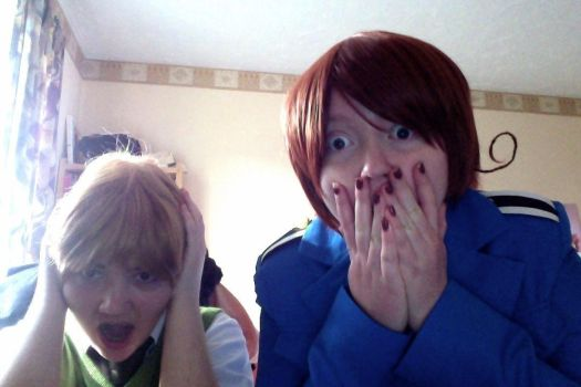 Italy and England [COSPLAY] - Reaction to Slender by CupidFireAngel