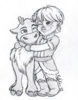 Baby Kristoff and Sven by lauu7