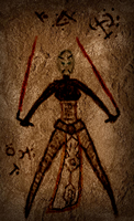 Asajj Ventress Cave Drawing by ThrowDownYourHat