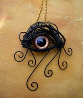 Wire Wrap of Bronze and Gold - Pendant Brooch Eye by LadyPirotessa