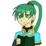 Lyndis smiling and holding a book by JosephKoopa