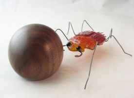 Dung Beetle B with Dung Ball by trilobiteglassworks