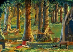 Camping in the forrest by HM1art