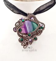 Green and purple striped agate pendant by ukapala