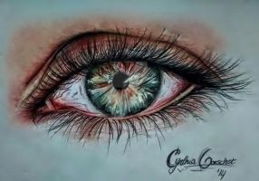 Realistic pencil drawing eyes coloured by CynthiaOorschot