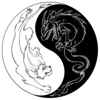 Dragon and Lion YinYang by razorsharpcandy