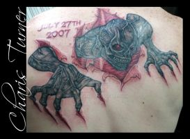 Skeleton Ripping Out of the Skin on Back Tattoo by Metacharis