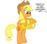 Applejack on... French Horn? by supermatt314