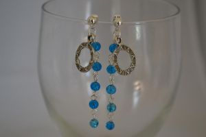Charm Earrings with Blue Glass Dangle - Stargate by lunnybunny1