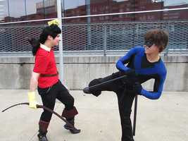 Gaston vs Nightwing - Montreal Mini Comic Con 2015 by J25TheArcKing