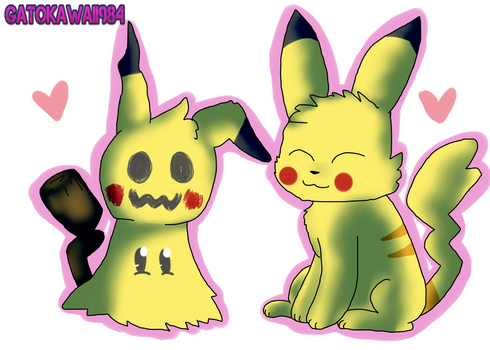 Mimikkyu and pikachu by Gatokawaii984