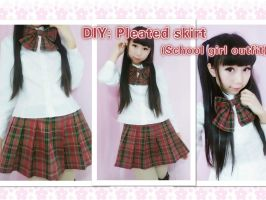 DIY-School girl outfit-pleated skirt by YumiKing