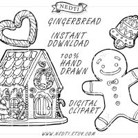 Gingerbread Hand Drawn Clipart Lineart by Nedti by Nedti