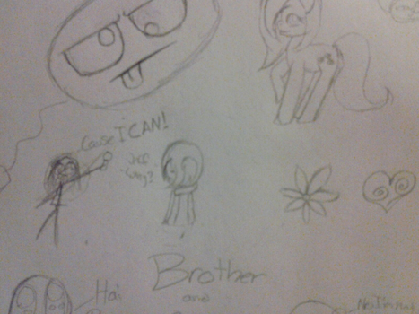 Random Doodles 1 /With my big brother/ by CassieTheZombie