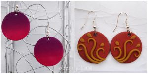 Polymer Clay- Purple Sunset and Curving Tendrils by juditithil