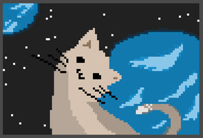 Little kitty in the space omg by HotCackes