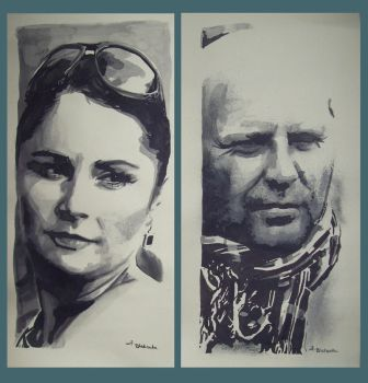 diptych portrait of couple by lucy7777
