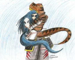 Rexy and Katsurou Hugging Each Other by RexyGal
