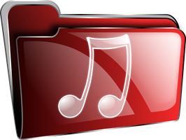 Icon folder red music by froshellin