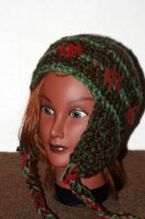 Brown, Green and Red Ski Beanie by LilithsSmile