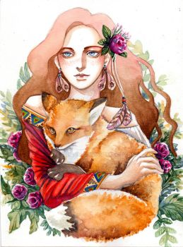 [Commission] Girl and the fox by TrixSama