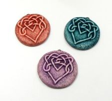 Colorful Celtic Heart Knot Medallions by DesertRubble