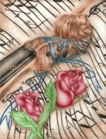 +++Roses and Violin+++ by lassie102