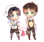 C: Levi and Eren Chibi by minteaparty