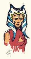 ahsoka sketch - round marker by shadoefax